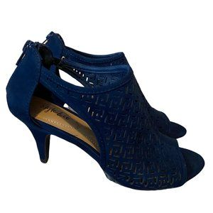 Navy Blue Suede Cut Out Heels